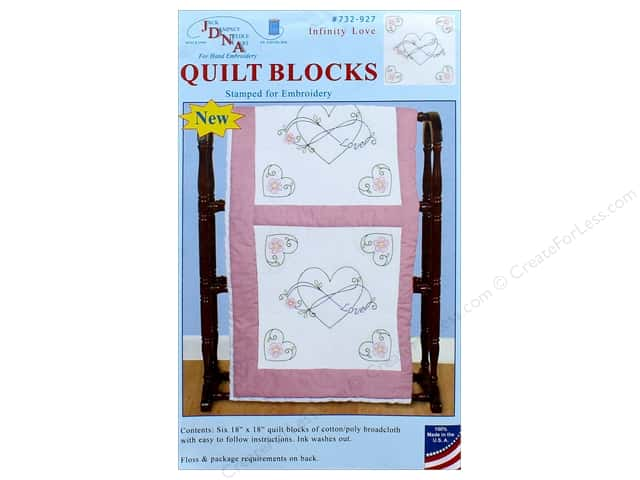 Jack Dempsey Quilt Block 18 in. White Infinity Love 6 pc
