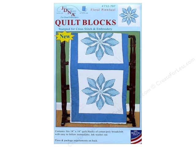 Jack Dempsey Quilt Block 18 in. White Floral Pinwheel 6 pc