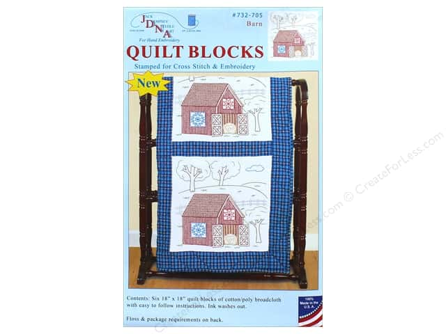 Jack Dempsey Quilt Block 18 in.  White Barn 6 pc