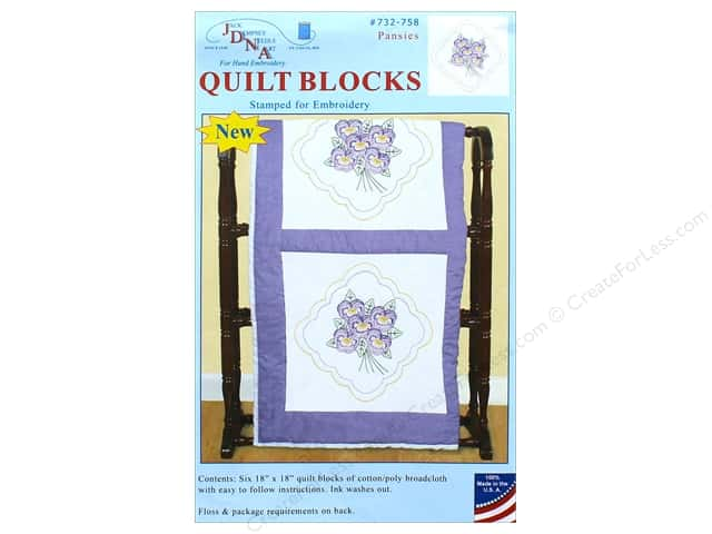 Jack Dempsey Quilt Block 18 in. White Pansies 6 pc