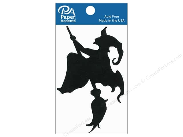 Paper Accents Chipboard Shape Witch on Broom 6 pc. Black