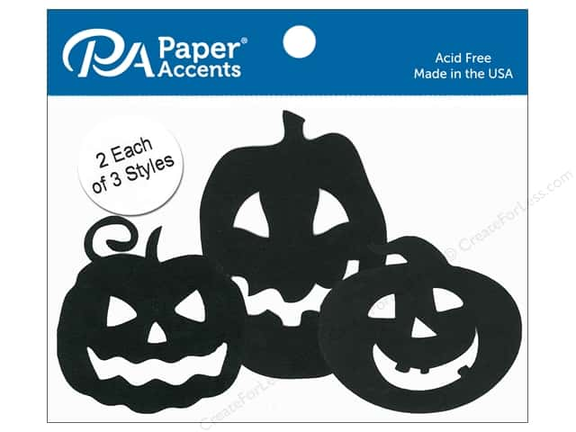 Paper Accents Chipboard Shape Jack O' Lanterns 6 pc. Black