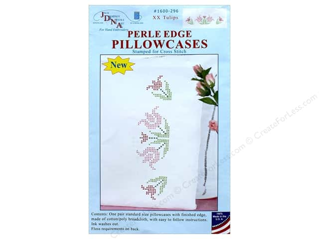 Jack Dempsey Pillowcase Perle Edge White XX Tulips