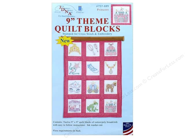 Jack Dempsey 9 in. Theme Quilt Blocks Princess 12 pc