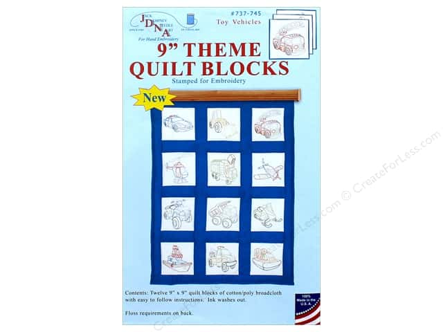 Jack Dempsey 9 in. Theme Quilt Blocks Rescue Vehicles 12 pc