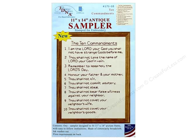 Jack Dempsey Sampler 11 in. x 14 in. 10 Commandments Antique