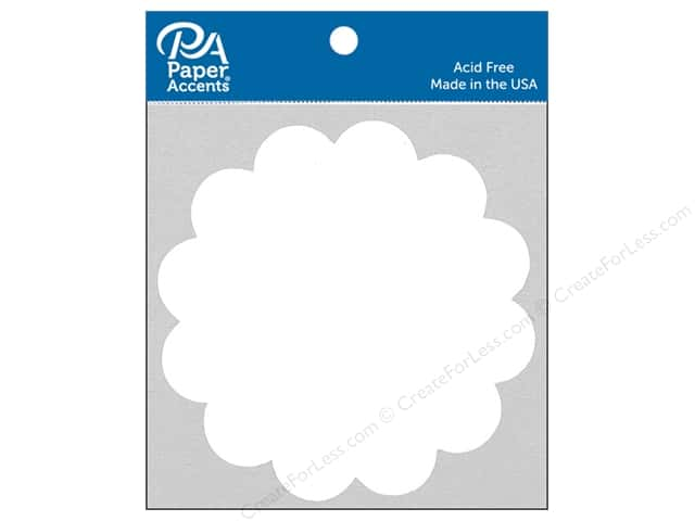 Paper Accents Chipboard Shape Scalloped Circle 8 pc. White