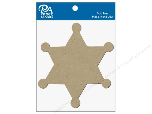 Paper Accents Chipboard Shape Sheriff Badge 8 pc. Natural