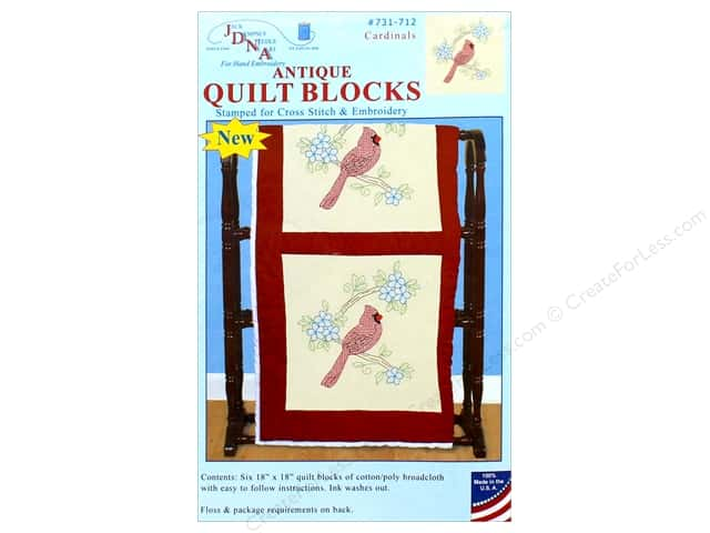 "Jack Dempsey Quilt Block 18"" 6pc Antique Cardinals"
