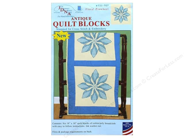 Jack Dempsey Quilt Block 18 in. 6 pc Antique Floral Pinwheel