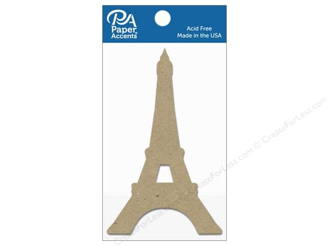 Paper Accents Chipboard Shape Eiffel Tower 8 pc. Natural