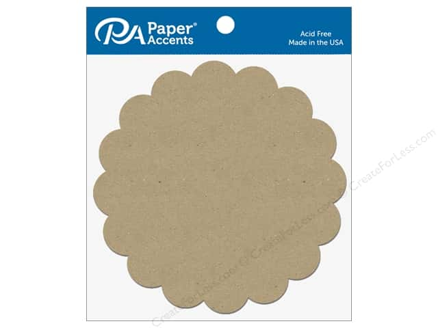 Paper Accents Chipboard Shape Scalloped Circle 5 pc. Natural