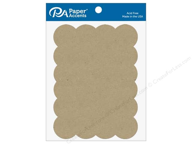 Paper Accents Chipboard Shape Scalloped Rectangle 5 pc. Natural