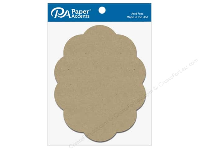Paper Accents Chipboard Shape Scalloped Oval 5 pc. Natural