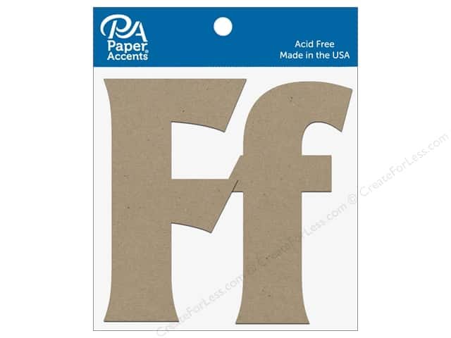 "Paper Accents Chipboard Shape Letters ""Ff 4 in. 2 pc. Natural"