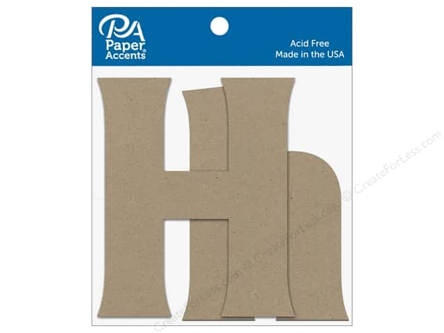 "Paper Accents Chipboard Shape Letters ""Hh"" 4 in. 2 pc. Natural"