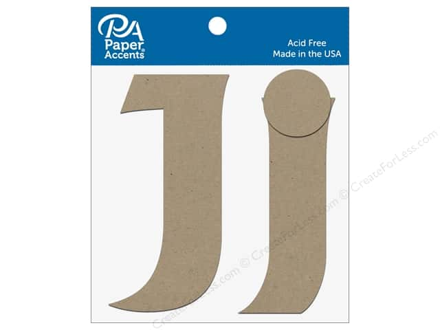 "Paper Accents Chipboard Shape Letters ""Jj"" 4 in. 2 pc. Natural"