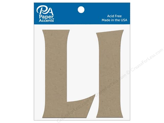 "Paper Accents Chipboard Shape Letters ""Ll"" 4 in. 2 pc. Natural"