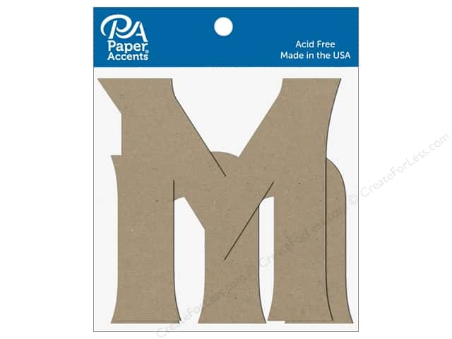 "Paper Accents Chipboard Shape Letters ""Mm"" 4 in. 2 pc. Natural"
