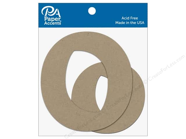 "Paper Accents Chipboard Shape Letters ""Oo"" 4 in. 2 pc. Natural"