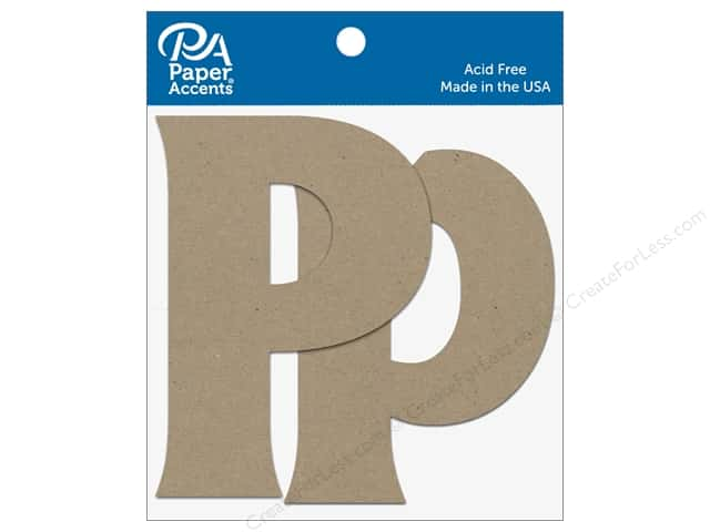 "Paper Accents Chipboard Shape Letters ""Pp"" 4 in. 2 pc. Natural"