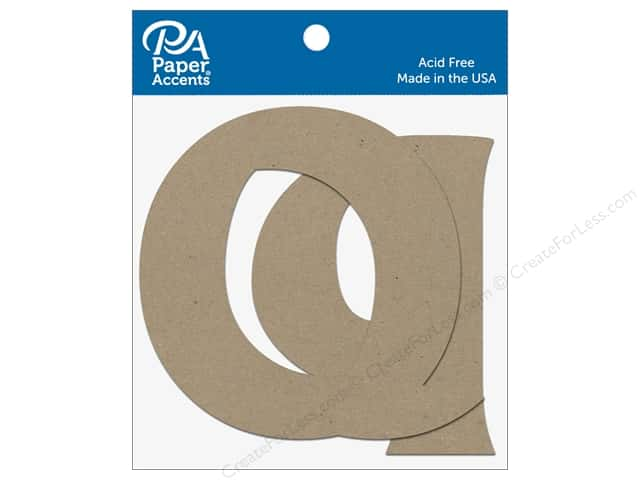 "Paper Accents Chipboard Shape Letters ""Qq"" 4 in. 2 pc. Natural"