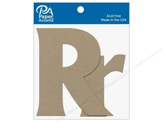 "Paper Accents Chipboard Shape Letters ""Rr"" 4 in. 2 pc. Natural"
