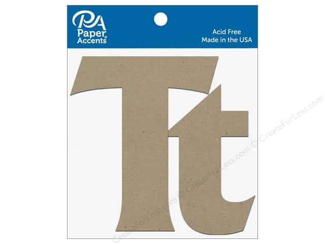 "Paper Accents Chipboard Shape Letters ""Tt"" 4 in. 2 pc. Natural"