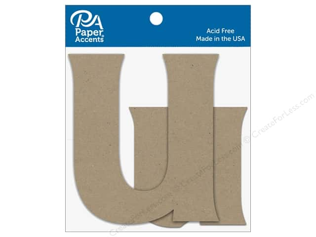 "Paper Accents Chipboard Shape Letters ""Uu"" 4 in. 2 pc. Natural"