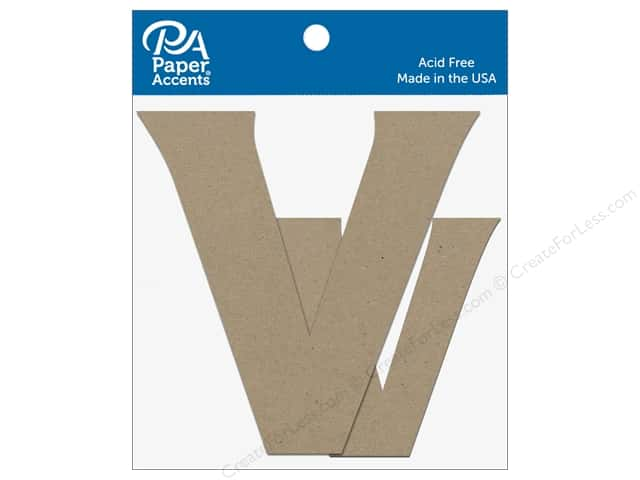 "Paper Accents Chipboard Shape Letters ""Vv"" 4 in. 2 pc. Natural"
