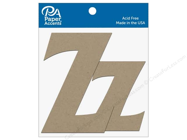 "Paper Accents Chipboard Shape Letters ""Zz"" 4 in. 2 pc. Natural"