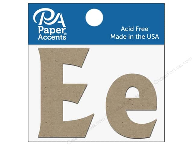 "Paper Accents Chipboard Shape Letters ""Ee"" 2 in. 2 pc. Natural"