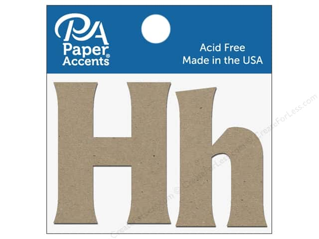 "Paper Accents Chipboard Shape Letters ""Hh"" 2 in. 2 pc. Natural"