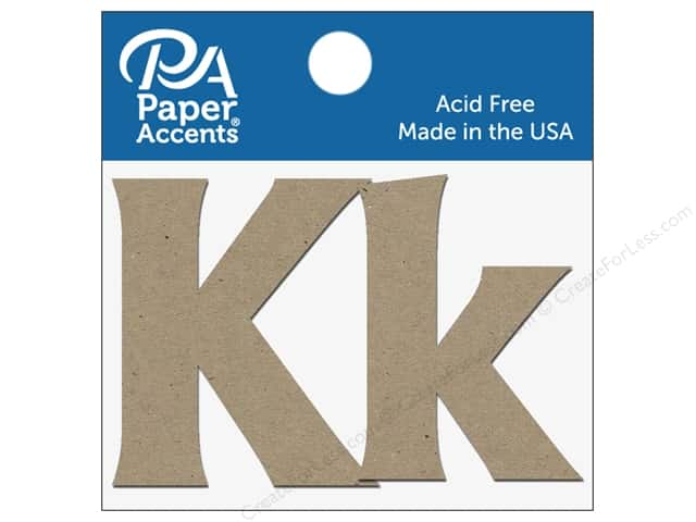 "Paper Accents Chipboard Shape Letters ""Kk"" 2 in. 2 pc. Natural"