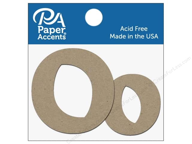 "Paper Accents Chipboard Shape Letters ""Oo"" 2 in. 2 pc. Natural"
