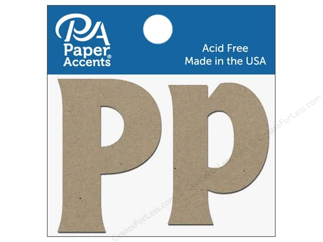 "Paper Accents Chipboard Shape Letters ""Pp"" 2 in. 2 pc. Natural"