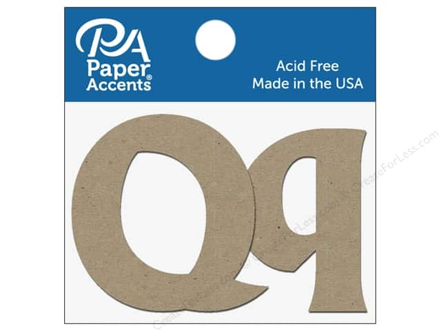 "Paper Accents Chipboard Shape Letters ""Qq"" 2 in. 2 pc. Natural"