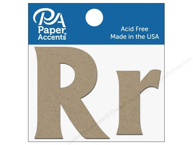 "Paper Accents Chipboard Shape Letters ""Rr"" 2 in. 2 pc. Natural"