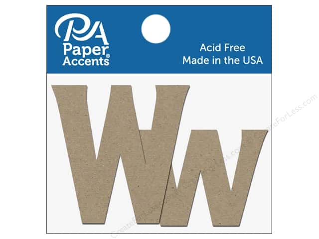 "Paper Accents Chipboard Shape Letters ""Ww"" 2 in. 2 pc. Natural"