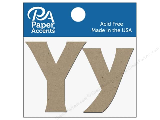 "Paper Accents Chipboard Shape Letters ""Yy"" 2 in. 2 pc. Natural"