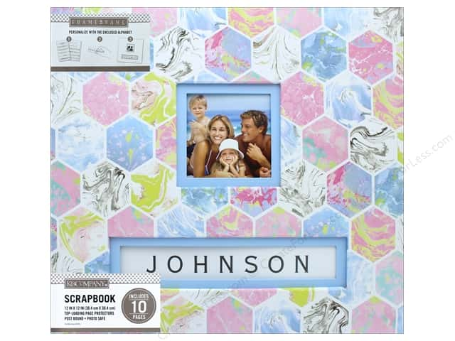 K & Company 12 x 12 in. Scrapbook Frame A Name Album Marbled Hexagon