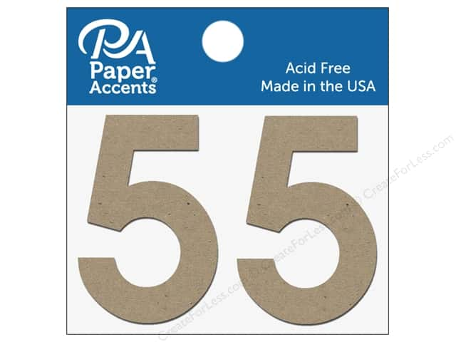 "Paper Accents Chipboard Shape Numbers ""5"" 2 in. 2 pc. Natural"