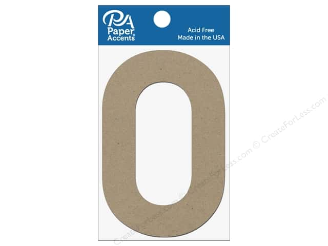 "Paper Accents Chipboard Shape Numbers ""0"" 4 in. 2 pc. Natural"
