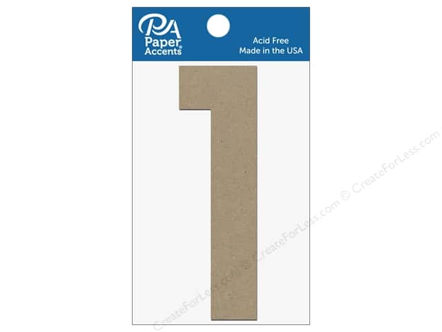 "Paper Accents Chipboard Shape Numbers ""1"" 4 in. 2 pc. Natural"