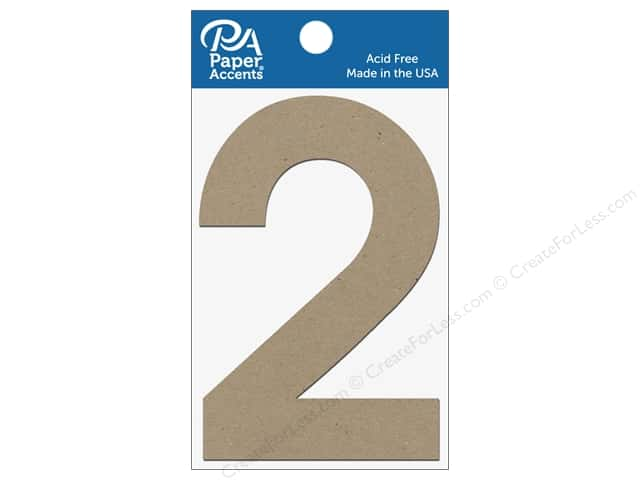 "Paper Accents Chipboard Shape Numbers ""2"" 4 in. 2 pc. Natural"