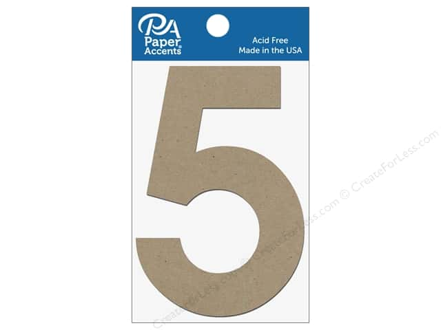 "Paper Accents Chipboard Shape Numbers ""5"" 4 in. 2 pc Natural"