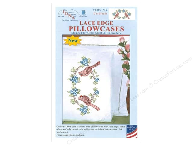 Jack Dempsey Pillowcase Lace Edge White Cardinals