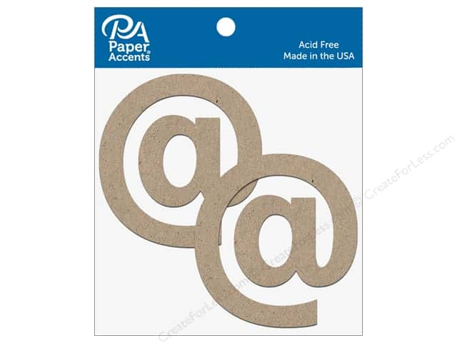 "Paper Accents Chipboard Shape Punctuation ""@"" 4 in. 2 pc. Natural"