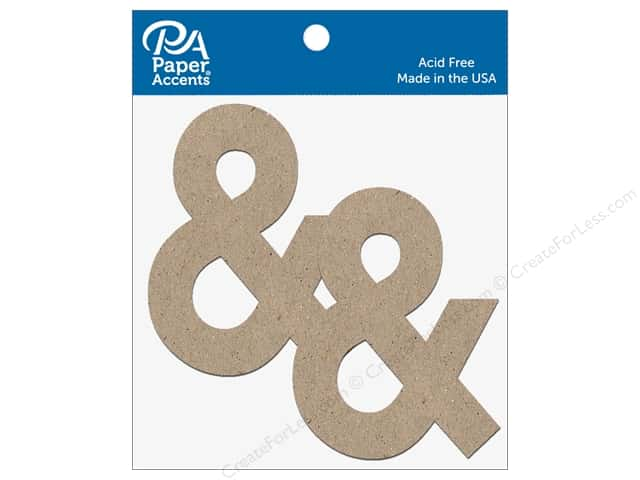 "Paper Accents Chipboard Shape Punctuation ""&"" 4 in. 2 pc. Natural"