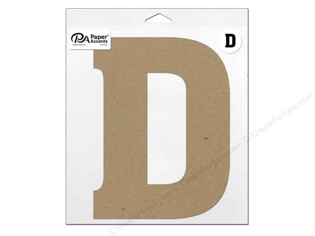 "Paper Accents Chipboard Shape Letter ""D"" 11 in. 1 pc. Natural"